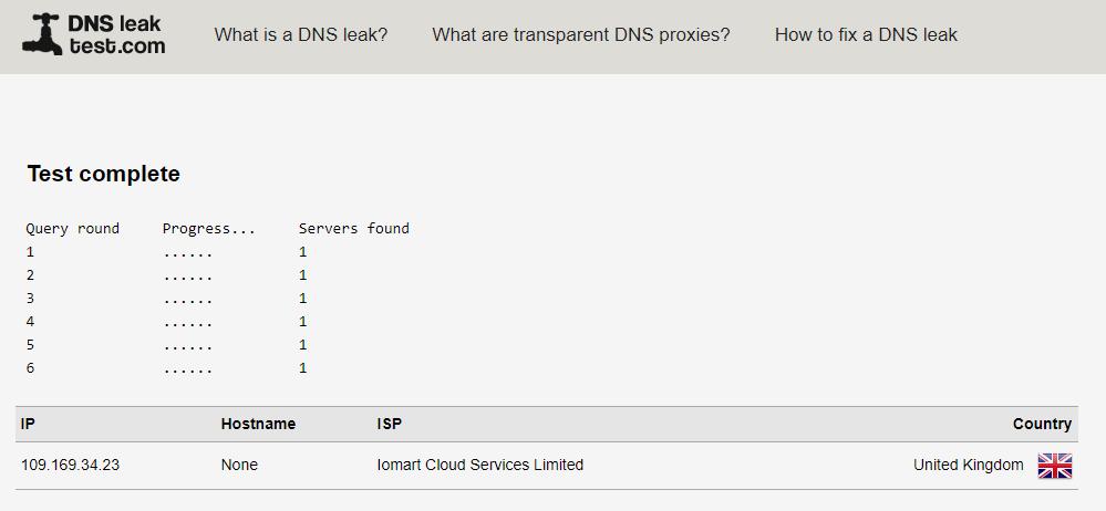 Avast VPN DNS leak test results