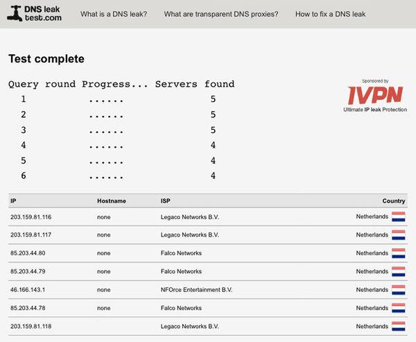 ExpressVPN DNS leak test results