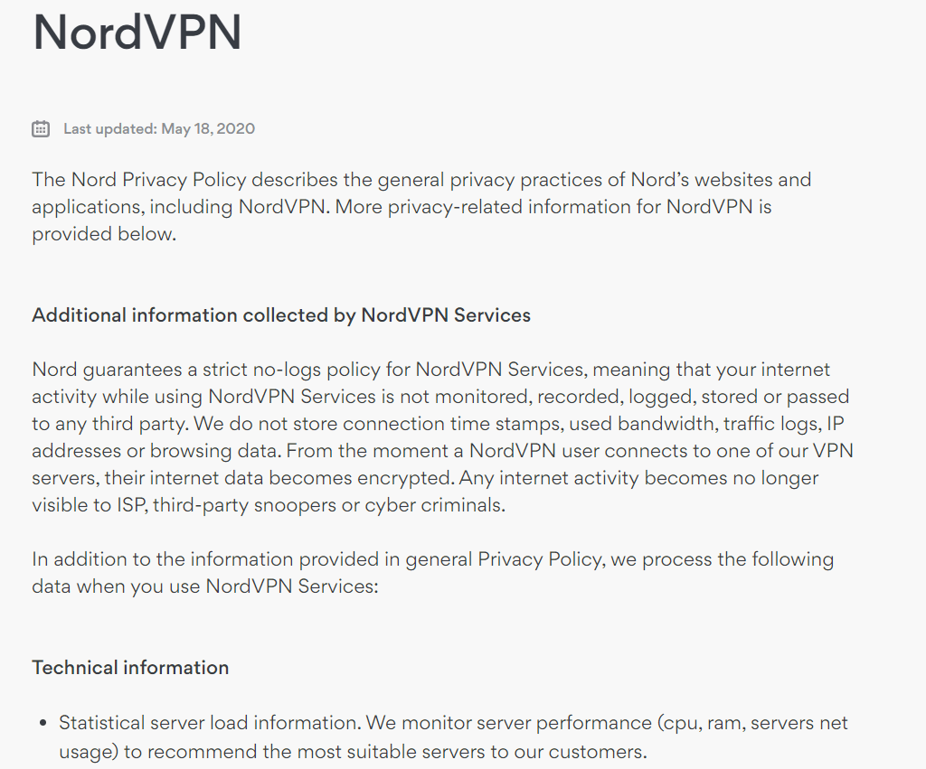NordVPN privacy policy screenshot