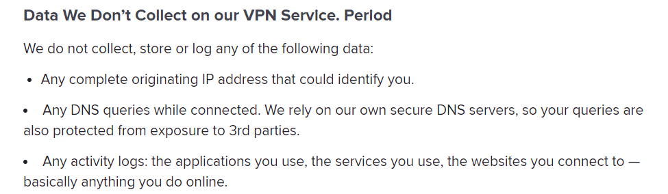 Avast VPN privacy policy screenshot