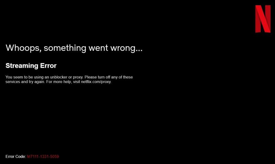 Netflix proxy streaming error screen